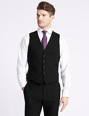 Black Slim Fit Waistcoat , BLACK, catlanding