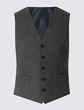 Wool Blend Tailored Fit 5 Button Waistcoat with Buttonsafe™