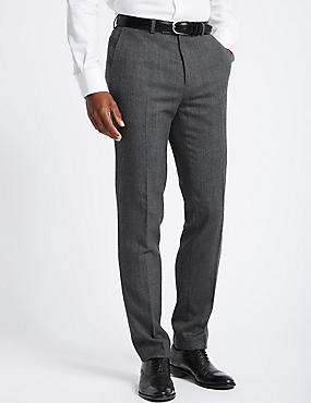 Grey Textured Slim Fit Trousers