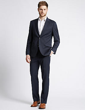 Big & Tall Navy Striped Tailored Fit Jacket