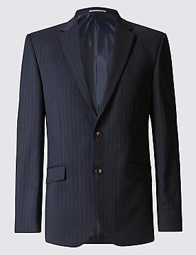 Navy Striped Tailored Fit Jacket