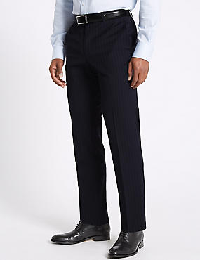 Navy Striped Tailored Fit Trousers
