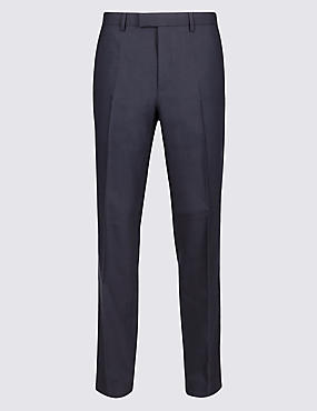 Navy Textured Tailored Fit Trousers