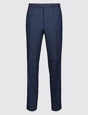 Navy Textured Regular Fit Trousers