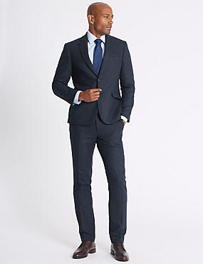 Wool Blend Slim Fit Suit with Italian fabric