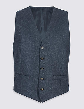Wool Blend Tailored Fit Waistcoat