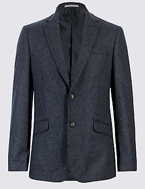 Wool Blend Regular Fit Suit with Italian Fabric
