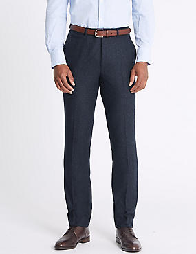Wool Blend Slim Fit Trousers with Italian Fabric