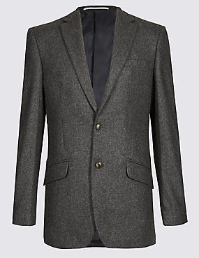 Charcoal Textured Regular Fit Jacket