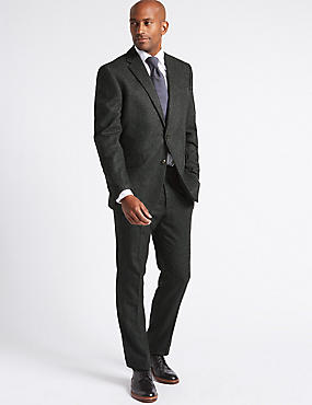 Charcoal Wool Blend Suit with Italian Fabric