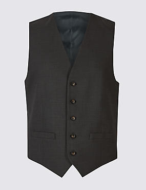 Charcoal Textured Regular Fit Waistcoat, CHARCOAL, catlanding