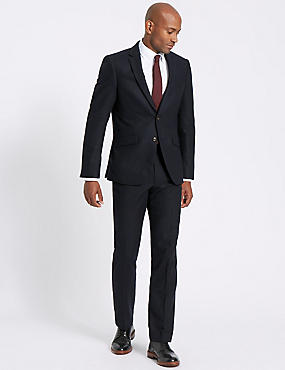 Navy Wool Blend Suit with Italian Fabric