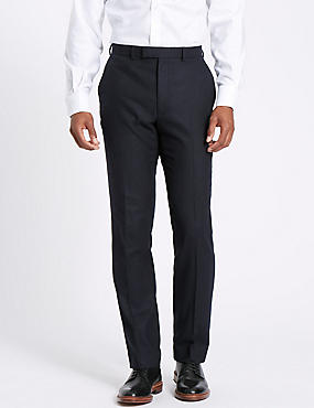 Navy Wool Blend Trousers with Italian Fabric, NAVY, catlanding