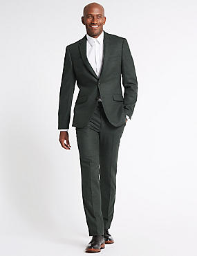 Wool Blend Suit with Italian Fabric