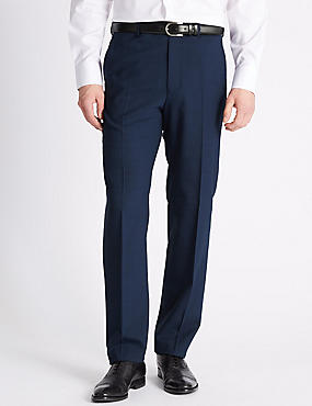 Navy Checked Tailored Fit Trousers, NAVY, catlanding