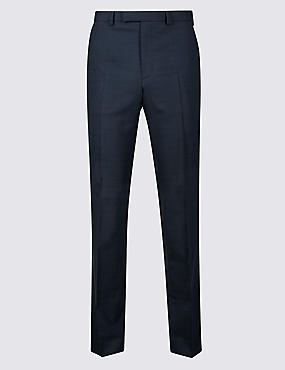 Navy Checked Tailored Fit Trousers