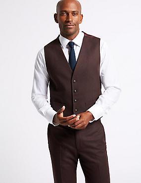Burgundy Textured Tailored Fit Waistcoat , BURGUNDY, catlanding