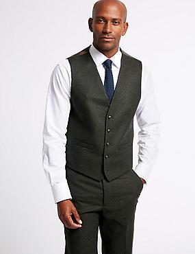 Textured Tailored Fit Waistcoat , DARK GREEN, catlanding