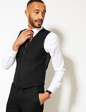 Black Slim Fit Waistcoat, BLACK, catlanding