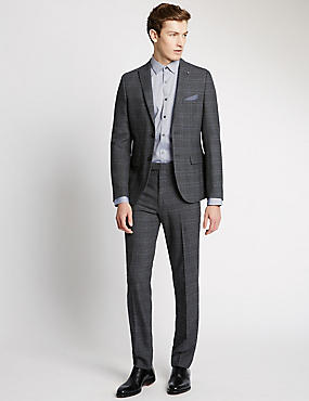 Grey Checked Modern Tailored Suit