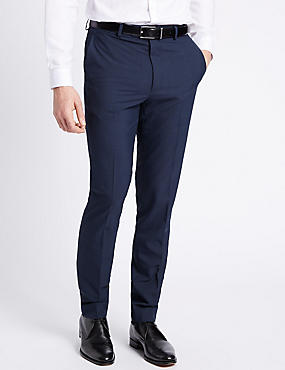 Blue Checked Modern Slim Fit Trousers, BLUE, catlanding