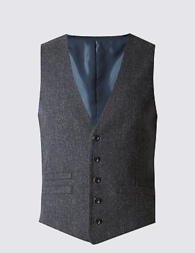 Wool Blend Modern Tailored Fit Waistcoat with Buttonsafe™