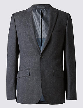 Navy Textured Modern Tailored Suit
