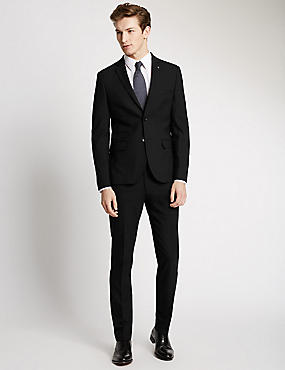 Black Textured Modern Slim Suit with Waistcoat