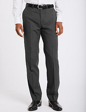 Grey Textured Regular Fit Trousers