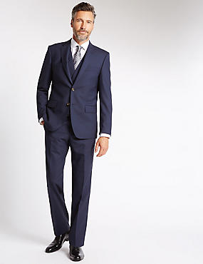 Big & Tall Navy Tailored Fit Wool 3 Piece Suit
