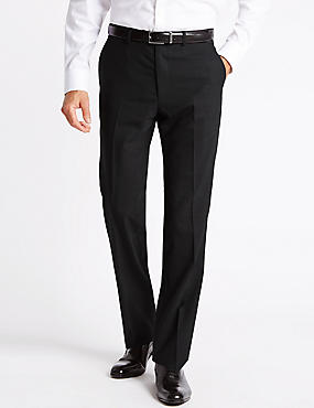 Charcoal Tailored Fit Wool Trousers