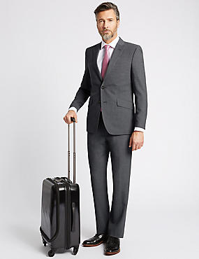 Grey Tailored Fit Travel Suit