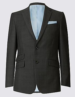 Grey Checked Slim Fit Wool 3 Piece Suit