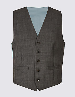Grey Checked Regular Fit Wool Waistcoat