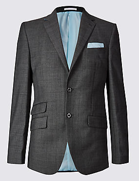 Grey Textured Regular Fit Wool Jacket