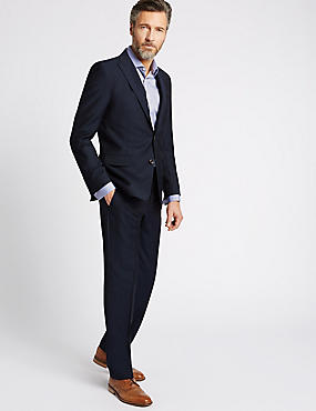 Navy Herringbone Slim Fit 3 Piece Suit