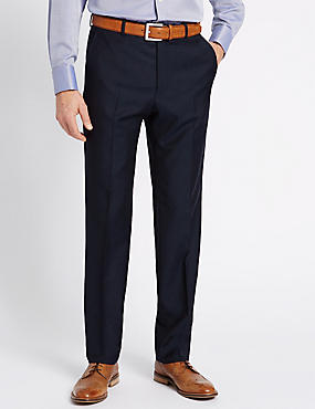Navy Textured Regular Fit Wool Trousers