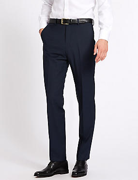 Indigo Tailored Fit Wool Trousers