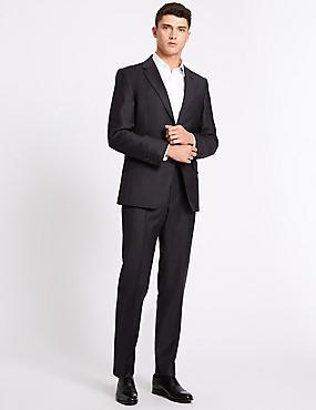 Striped Regular Fit Wool Jacket, DARK DENIM, catlanding