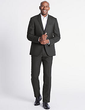 Charcoal Striped Tailored Fit Wool Suit