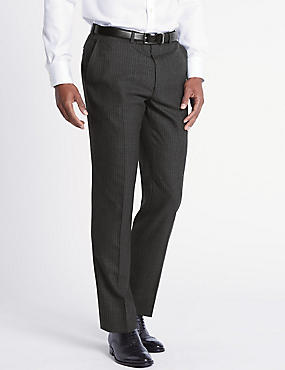 Charcoal Striped Tailored Fit Wool Trousers, CHARCOAL, catlanding
