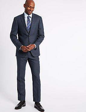 Textured Tailored Fit Wool 3 Piece Suit