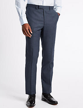 Textured Tailored Fit Wool Trousers, DARK DENIM, catlanding