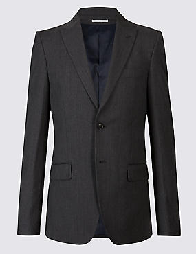Grey Textured Tailored Fit Wool Jacket