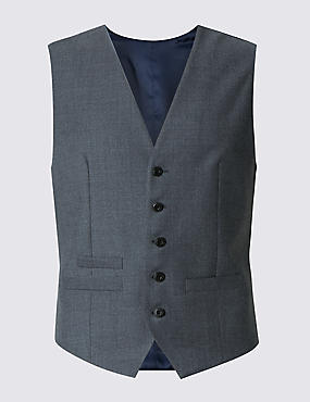 Grey Textured Regular Fit 5 Button Waistcoat
