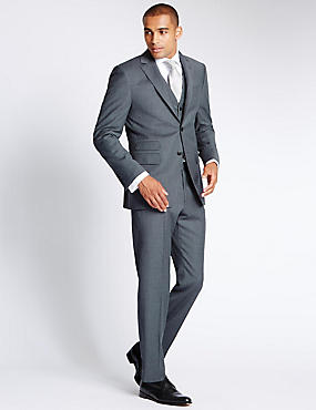 Grey Textured Regular Fit Suit Including Waistcoat