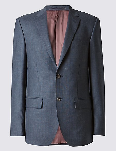 Navy Textured Tailored Fit Wool Jacket