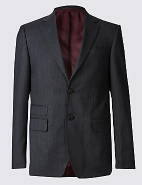 Charcoal Textured Regular Fit Wool Jacket