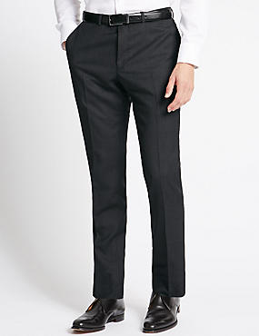 Charcoal Textured Slim Fit Wool Trousers