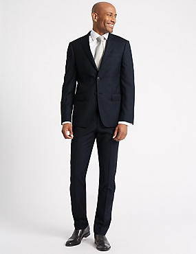 Navy Checked Tailored Fit Wool 3 Piece Suit